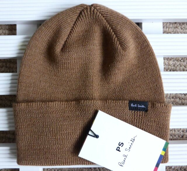 PAUL SMITH Tan 100% Merino Wool Beanie Hat Toque MADE IN SCOTLAND Brown New  Tags 6f5a4f8db8f