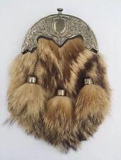Men's Scottish Kilt Sporran Fox Fur Celtic Cantle Antique/Ful Dress Kilt Sporran
