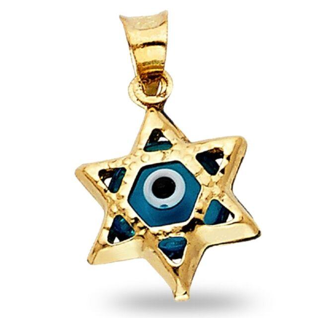 Jewish 14k yellow gold star of david charm pendant ebay evil eye star of david pendant solid 14k yellow gold good luck jewish charm aloadofball Images