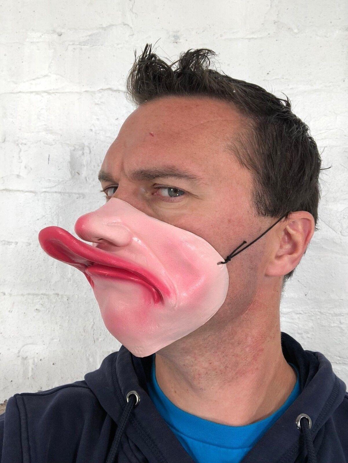 Divertido Media Cara FAT LIP Pato Pico Máscara de látex | eBay