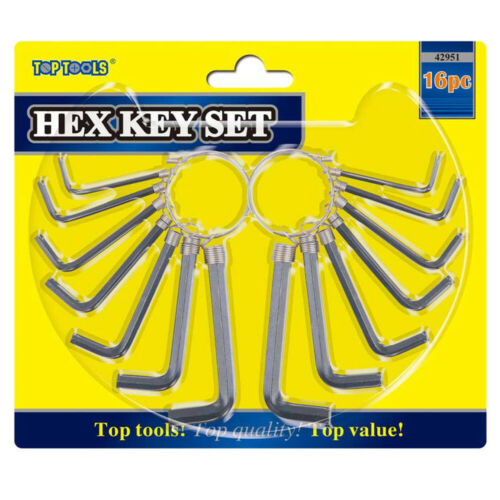 16pc Hex Allen Key Tool Kit Set Metric /& Imperial Sizes for Home DIY