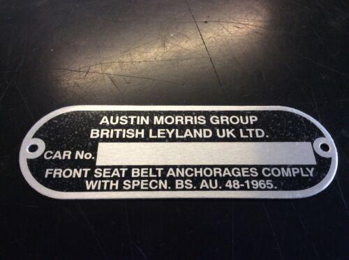 MGB Enano/' 70 /> /'Austin Morris grupo ID de chasis Placa CRCP 339 Mgb-GT