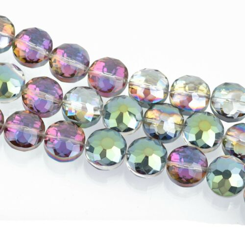 12mm Glass Coin Beads NORTHERN LIGHTS Flower Pattern Faceted 21 beads bgl1657