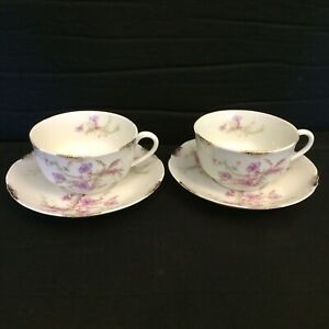 Warwick China Cups And Saucers Lot Of 2  Blue Pink Flowers Gold Daubs A2002 MINT
