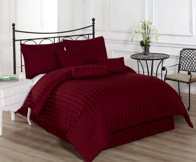 Royal Calico WHITE 7pc Comforter set Damask Stripe 100/% Cotton 350 Thread Count