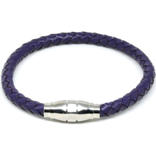 Mens 6mm Chunky Purple Leather Bracelet Wristband with Magnetic Clip