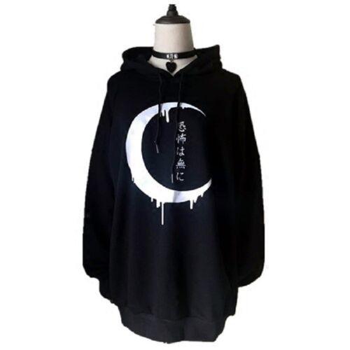 Damen Gotisch Mond Punk Sweatshirt Kapuzenpullover Lose Langarm Lässig Pullover