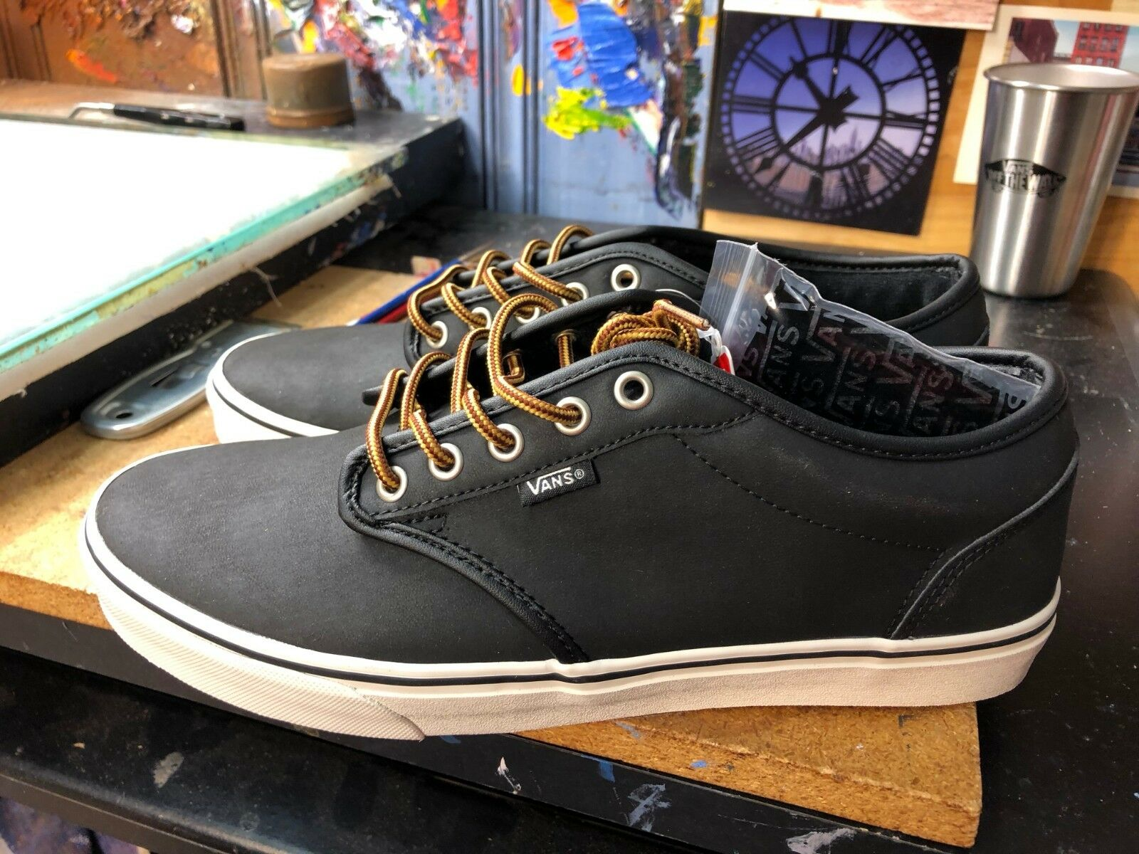 Vans Atwood (Leather) Black Marshmallow US Men's 10 VN0A327L68X