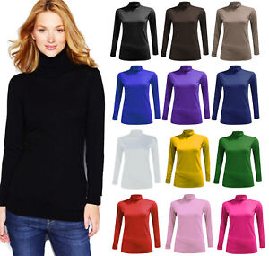 Ladies-Women-Polo-Neck-Top-Stretch-Long-Sleeve-Turtle-Neck-Top-Jumper-All-Sizes