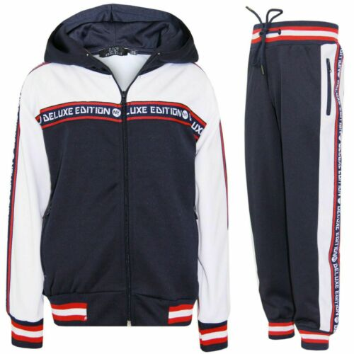 Kids Boys Tracksuits NY Deluxe etd Fade Gradient Hooded Top Bottom Jogging Suits