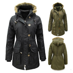Womens Ladies New Military Parka Jacket ShowerProof Coat With Hood