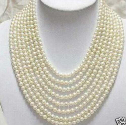 Belle 8 rangées 6-7 mm WHITE FRESHWATER PEARL NECKLACE