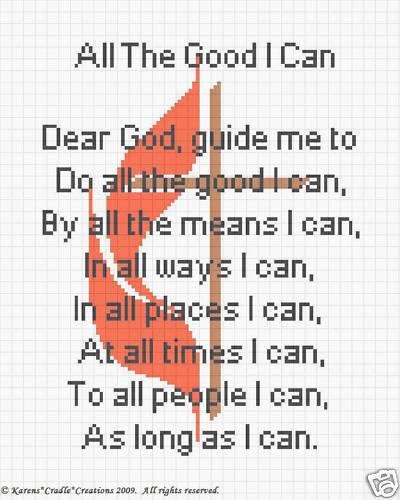 METHODIST CROSS /& PRAYER  #2 Counted Cross Stitch Chart