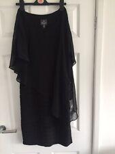 649dee311805 Adrianna Papell Women's Chiffon Drape Overlay With Banding Dress Black UK  Size 8