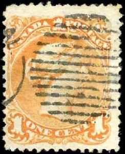 Canada #23 used F 1869 Queen Victoria 1c yellow orange Large Queen Duplex cancel
