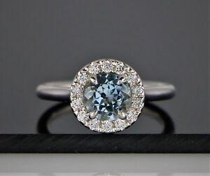 14K-White-Gold-1-28ct-Round-Aquamarine-round-Diamond-Engagement-Ring-Band