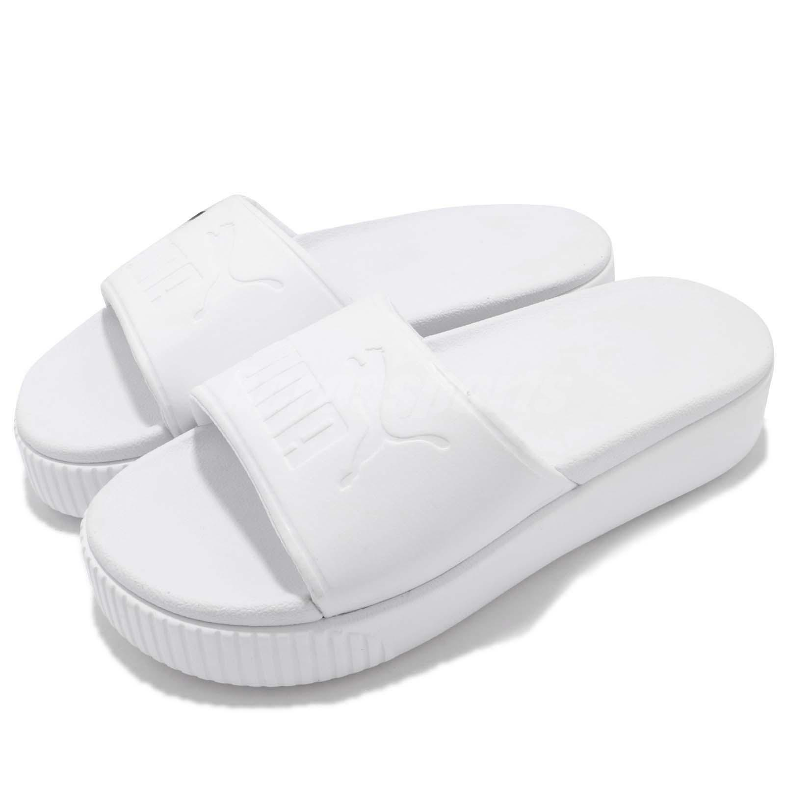 Puma Platform Slide Bold Wns Logo blanc femmes Sandal Slippers 367064-02