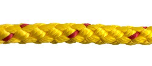 8 mm jaune//rouge en polypropylène corde x 50 mètres tressé Poly cordon ligne voile