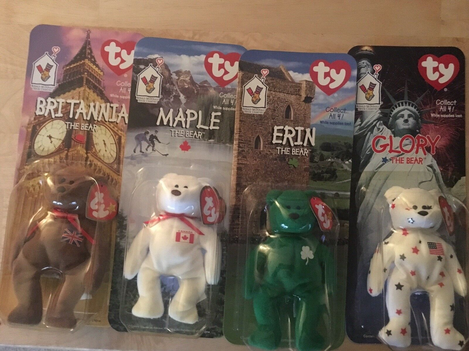McDonald's Ty Beanie Beanie Beanie Babies Bears Set of 4 All ca011c