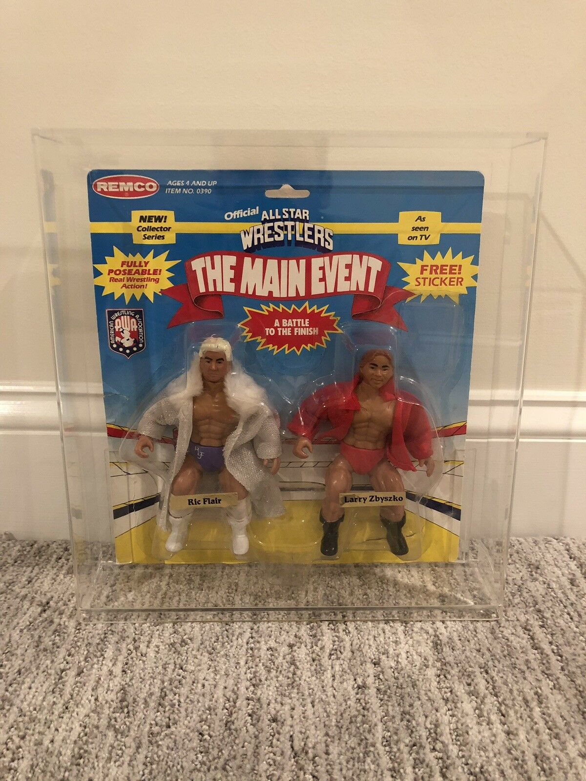 Ric Flair & Larry Zbyszko Remco AWA Wrestling Figures with Acrylic Case.