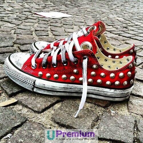 Converse All Star Rosso Fuoco Borchiate [Prodotto Personalizzato] Zapatos  Borchiate Fuoco ORIGINA 2919f9