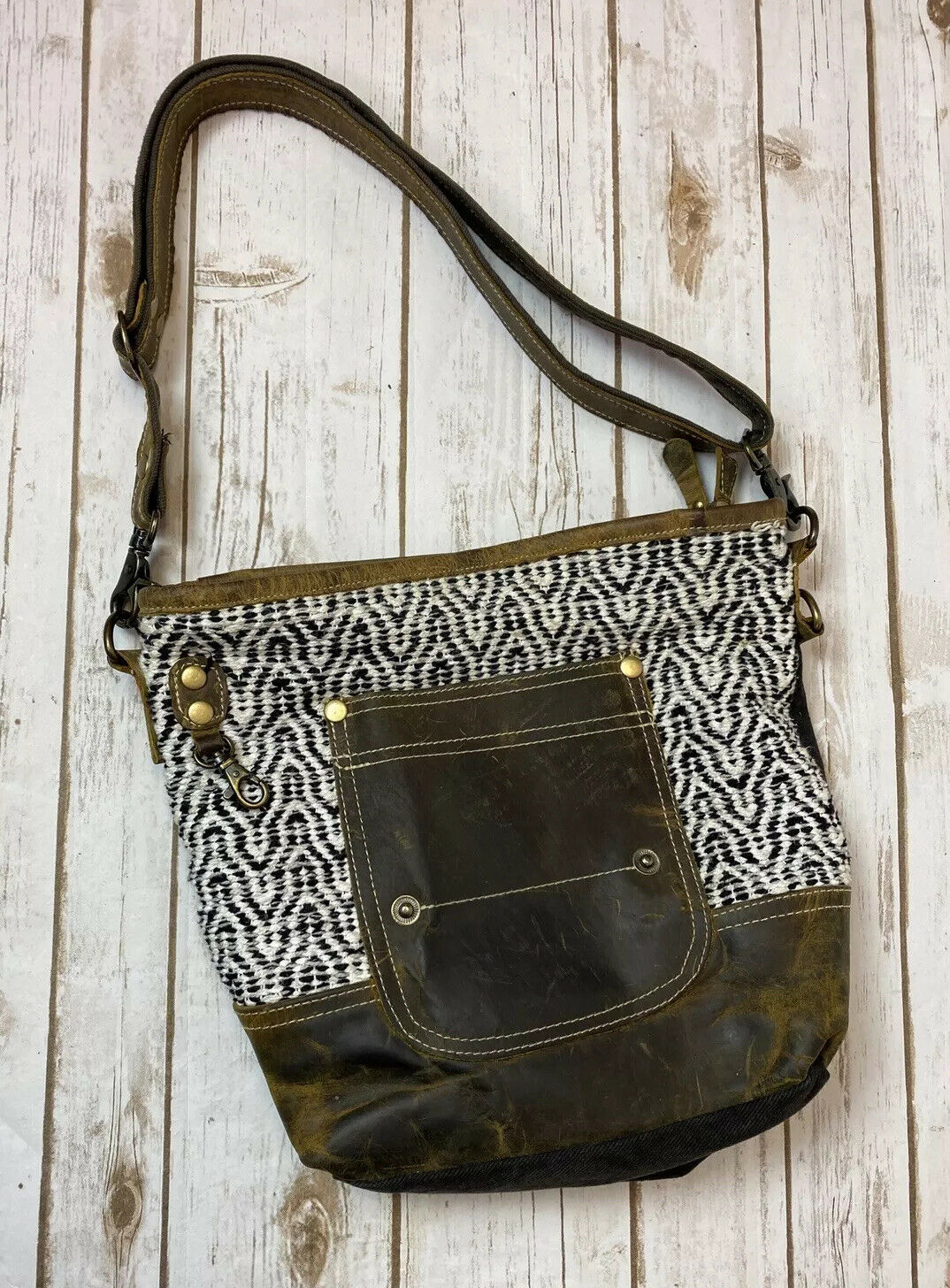 Myra Bag White Black and Brown Leather Shoulder Bag Purse Boho Adjustable Strap