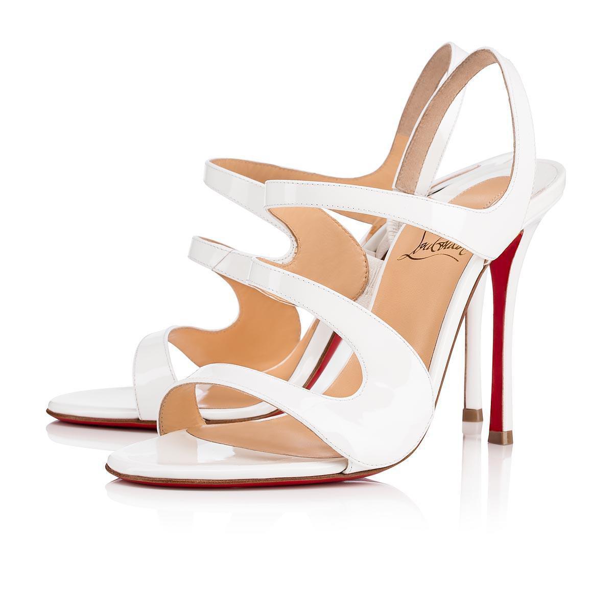 NIB Christian Louboutin Vavazou 100 blanc Latte Patent Sandal Strap Heel Pump 41