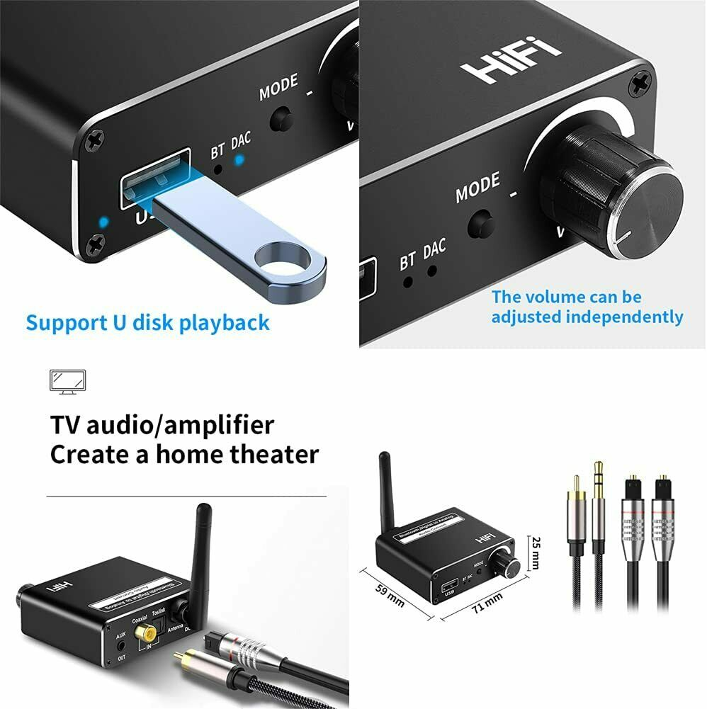 DAC Digital Coaxial Toslink to Analog 3.5mm Audio Converter Bluetooth Receiver
