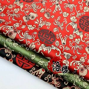 Costume-Dress-Baby-Clothes-Kimono-Silk-Satin-Pomegranate-flower-Damask-Fabric