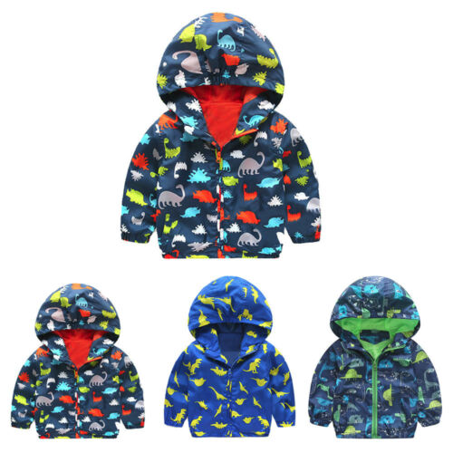 Baby Infant Girls Boys Dinosaur Hooded Zip Coat Cloak Jacket Thick Warm Clothes