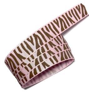 "5 yards Hot pink zebra print 1/"" grosgrain ribbon by the yard DIY hair bows"