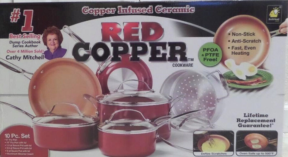 red copper infused ceramic pan non stick cookware 10 piece pc set as seen on tv ebay. Black Bedroom Furniture Sets. Home Design Ideas