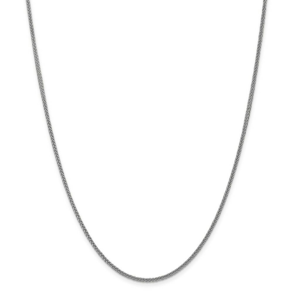 14kt White gold 2mm Semi-solid 3-Wire Wheat Chain; 20 inch