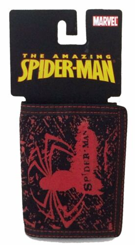Spiderman Red Spider Logo Tri Fold Black Wallet New Official Marvel Comics NWT