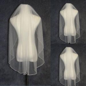 White-Ivory-Champagne-1T-Wedding-Veil-Beaded-Edge-Bridal-Veil-Fingertip