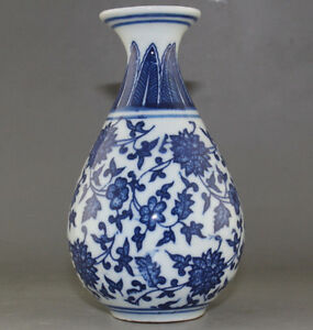FINE-CHINA-OLD-MARKED-BLUE-AND-WHITE-PORCELAIN-HANDPAINTED-LOTUS-FLOWER-VASE