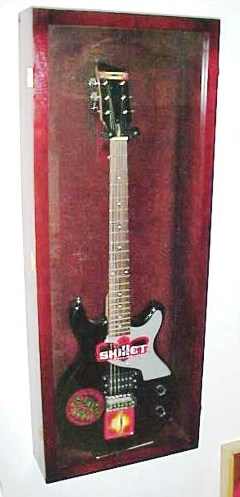 Acrylic Guitar Display Case   Cherry Wood Guitar Case   NF