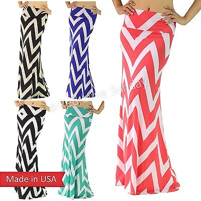 USA Chevron Zigzag Print Draped Jersey High FoldOver Waist Maxi Floor Long Skirt
