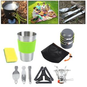 10Pcs Camping Cookware Mess Kit Backpacking Gear & Hiking Outdoors Bug Out Bag