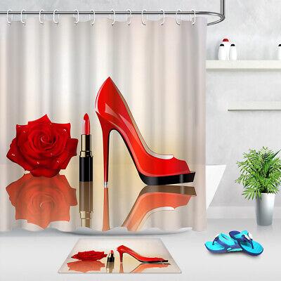 Polyester Fabric Fashion Purple High Heels Lipstick Shower Curtain Set Bath Mat