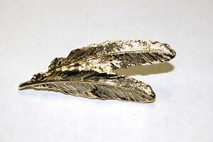 GERRY-039-S-Vintage-Gold-Tone-Double-2-Twin-Feather-Brooch-Pin-Signed-Hallmarked