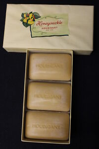 RARE NEW Vintage Honeysuckle by Houbigant 3-Bar Soap Gift Box, by Marshall Field
