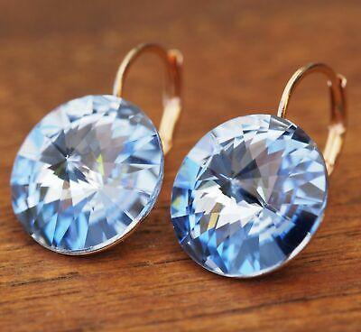 Neu OhrhÄnger Farbe Rosegold 14mm Swarovski Steine Light Sapphire/blau Ohrringe