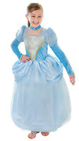 GIRLS BLUE FAIRYTALE CINDERELLA PRINCESS FANCY DRESS COSTUME OUTFIT & CHOKER NEW
