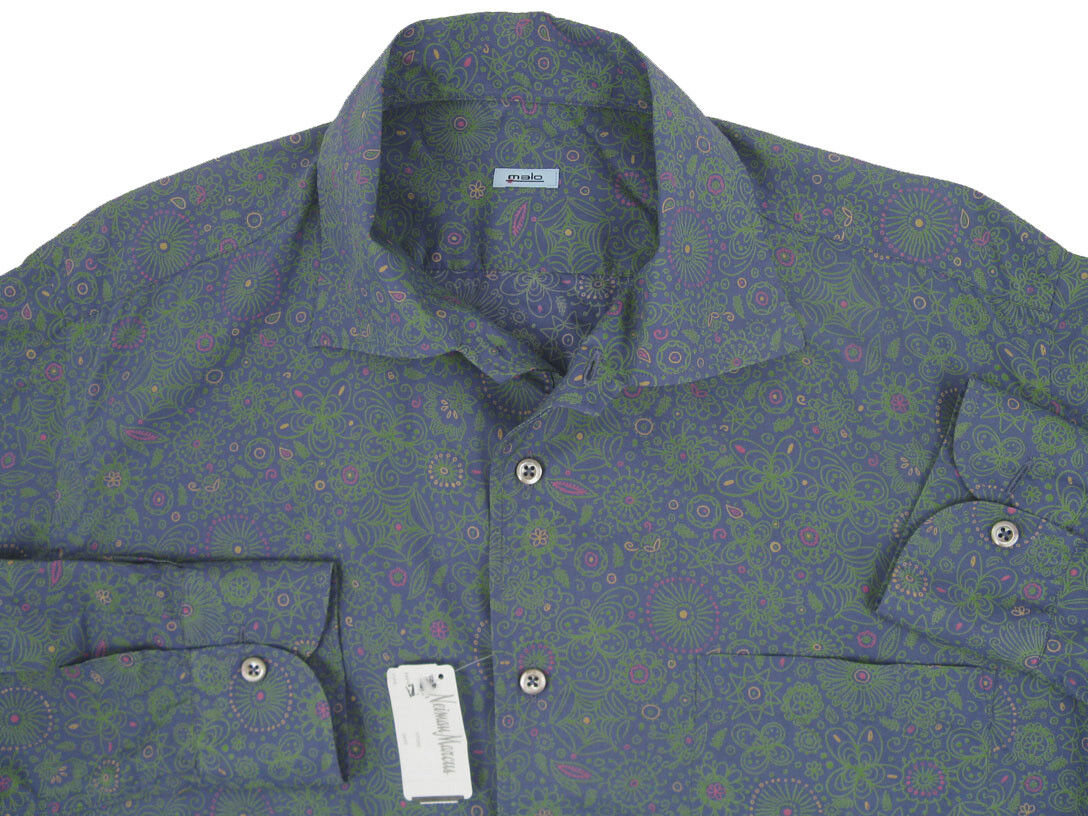 NEW Malo Shirt  e 54 US 44 (Large) Lightweight  bluee with Floral Design