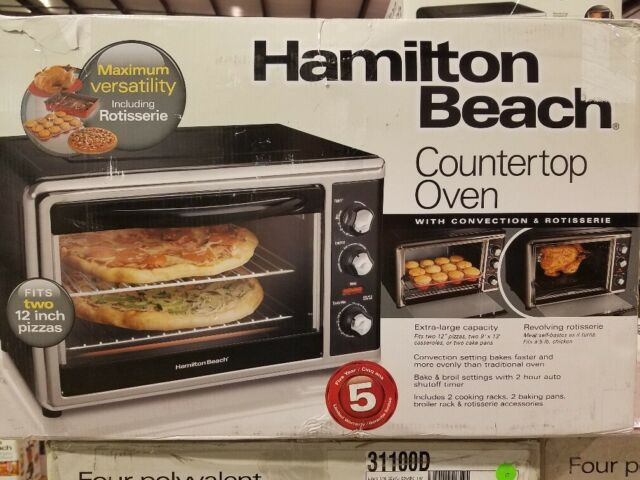 HAMILTON BEACH BRANDS INC Extra Large 4-Slice Toaster Oven//Broiler White 31116
