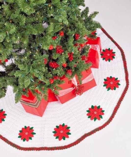 Crochet Pattern Christmas Tree Skirt Poinsettia Ebay