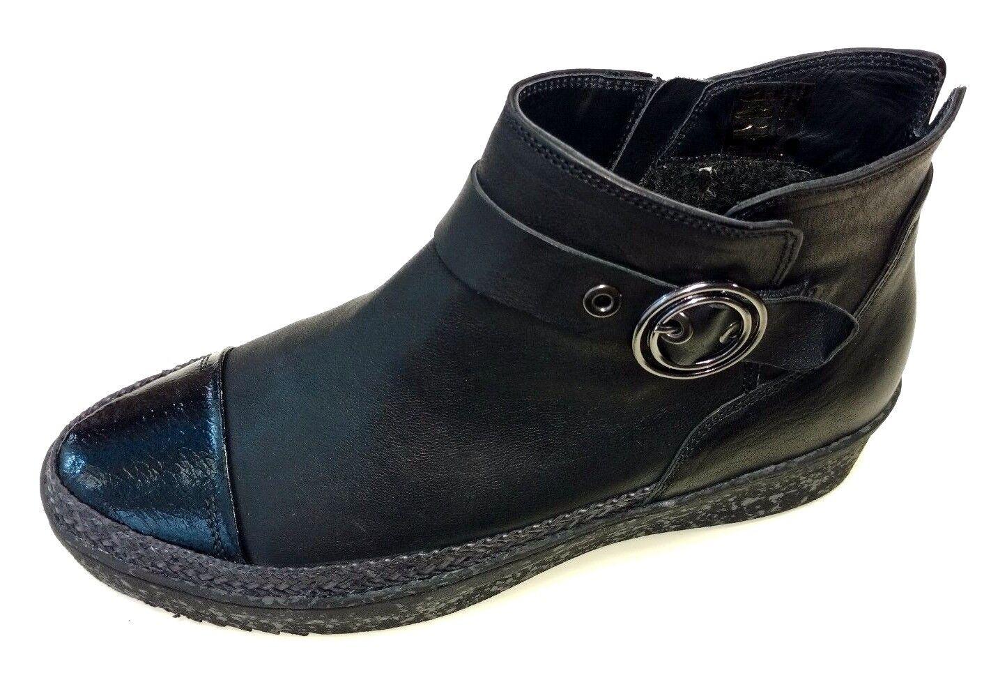 Softwaves Portugal Damen Schuhe Stiefel Stiefelette Stiefel 7.24.05 schwarz Leder