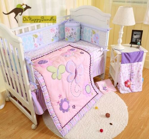 New Baby Girls 9 Pieces Cotton Nursery Bedding Crib Cot Sets Purple Butterfly