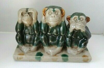 Ceramic Set of 3 monkeys statues
